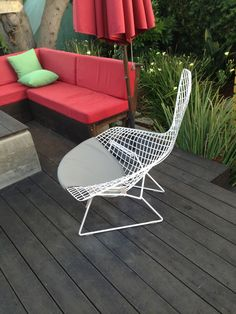 Seat-only pad for the Bird Chair, an affordable option that let's you see the wire form of this iconic chair, by bertoiapads.com Outdoor Sofa, Outdoor Furniture, Outdoor Decor, Wire Chair, Backyard, Bird, Inspiration, Home Decor, Homemade Home Decor
