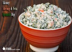 Skinny Shrimp & Feta Dip - No Mayo here. Just juicy pieces of shrimp, salty feta cheese, creamy Greek yogurt, fluffy cottage cheese, chopped frozen spinach and of course garlic.