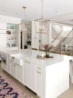 Home: Kitchen + Dining White kitchen, large island, brass hardware, Benjamin Moore classic gray wall Home Decor Kitchen, New Kitchen, Home Kitchens, Kitchen Dining, Kitchen Ideas, Kitchen Hacks, Dream Kitchens, All White Kitchen, Rustic Kitchen