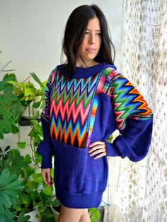 Guatemalan Rainbow Huipil 80s Sweater by PrismOfThreads on Etsy