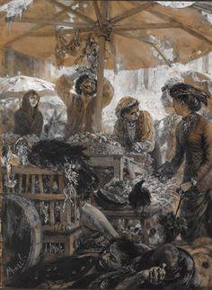 Marktszene in Verona by Adolph von Menzel