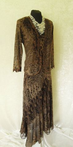 ANN BALON (Italian Inspired Designer) in shades of Brown & Bronze, Lace Dress and matching Jacket with sparkling sequin and appliqué detail, size Small UK8/10