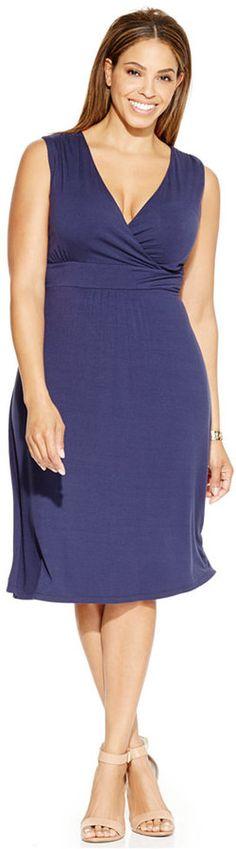 Plus Size Empire-Waist Surplice Dress