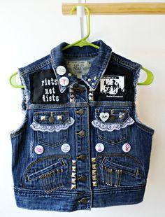 S Feminist Vest // Riot Grrrl Fist Studded Punk Jacket // Leopard Print My Body My Choice