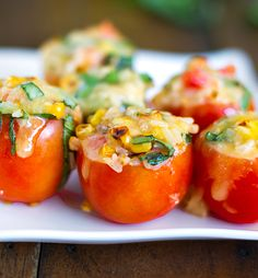 Roasted Corn and Basil Stuffed Tomatoes