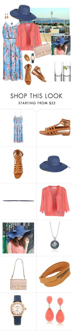 """""""Floral Dress and Coral Cardigan"""" by tgtatiana ❤ liked on Polyvore featuring MANGO, Yves Saint Laurent, Amici Accessories, Borbonese, Anna Rachele, Ross-Simons, Salvatore Ferragamo, Feathered Soul, Shinola and LSA International"""