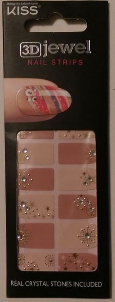 Kiss Nails 3D Jewel Nail STRIPS Crystal Stones DMT137 STARS+STARBURSTS #KissNails