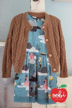 Dahlia Dress Teal Swan | Girls Party Dress | Oobi Girls Kid Fashion