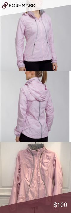 Lululemon Run: Record Breaker Jacket, blush pink Break records (and hearts) in this lightweight windbreaker Water resistant glyde with DWR (durable water repellent) finish to keep you dry Perforated panels & quick-access zipper vents let you cool down in a flash! Lined with light and airy gradient mesh Reflective zipper & tape for visibility in low light Interior drawcord at hem (pull cinch at each hip) Secure zipper pockets for card, keys or music. Hideaway hood in collar. Elastic at…