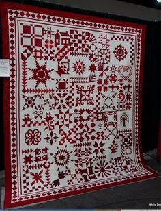 """""""Red and White - By The Numbers"""" by Barbara Black and Pamela Joy Spencer Dransfeldt. I think this is the quilt pattern I ordered. Anxious to receive it. Old Quilts, Antique Quilts, Scrappy Quilts, Mini Quilts, Vintage Quilts, Quilting Projects, Quilting Designs, Quilting Ideas, Two Color Quilts"""