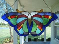 Large Butterfly Stained Glass Window Panel. $95.00, via Etsy.