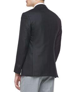 Textured Wool/Silk Sport Coat, Black