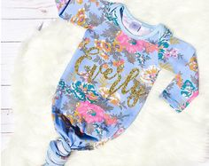 Personalized Newborn Gown Baby Girl Gown Baby Girl Take Home Outfit Newborn Hospital Outfit Baby Shower Gift Floral Purple Newborn Gown Going Home Outfit, Take Home Outfit, Newborn Hospital Outfits, Gowns For Girls, Bays, Baby Ideas, Baby Shower Gifts, Trending Outfits, Purple