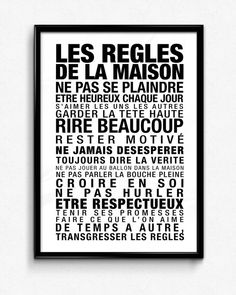 Les Regles De La Maison Typographic Art, French Print Quote, Typography, Handmade, Digital Art, Print Arts, Scandinavian Print, Wall Print