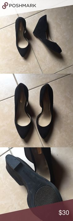 BCBGeneration black suede wedge pumps Gorgeous pointed toe wedge heels. Size 8.5, excellent condition. BCBGeneration Shoes Heels