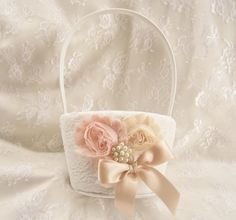 Flower Girl Basket  Peach Rose Blossom Shabby Chic by nanarosedesigns on Etsy