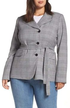 4436b416456 Halogen(R) Belted Fitted Blazer - Plus Size Plus Size Blazer