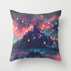 The Lights Throw Pillow by Alice X. Zhang