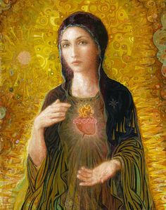 The Immaculate Heart of Mary - one of the prettiest images I've seen. This site has contemporary Catholic art by family art studio and is an apostolate inspired by Pope John Paul II!