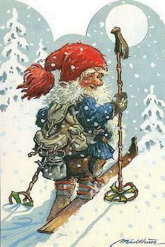 Skiing Gnome ~ Kjell Midthun Art