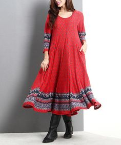 Another great find on #zulily! Red Ditsy A-Line Maxi Dress #zulilyfinds