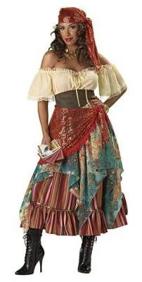 Gypsy Witch Fortune Teller Costume      Bring on the tea leaves, the tarot cards and crystal ball...the future is soon to be unveiled! Includes dress, scarf-skirt, ruffled underskirt with attached petticoat, sequined waist sash and bandana, vinyl belt and 6 fortune teller cards.