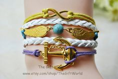 NEWAngel wings & unlimited golden anchor charm by TheGiftWorld, $5.50 Fashion handmade leather bracelet,the best gift of friendship.