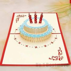 High Quality Happy Birthday Cake 3D Pop Up Greeting Card/ Kirigami