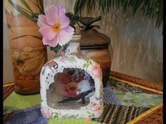 """Reverse Decoupage Bottle with a """"Window"""" -- Upcycle Project #8 - YouTube"""
