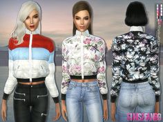 .:167 - Colorful Padded Jacket:. Found in TSR Category 'Sims 4 Female Everyday'