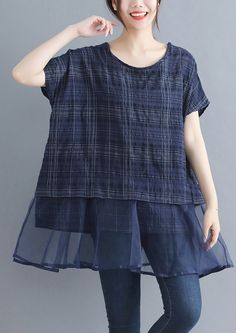 stylish-plaid-grid-cotton-linen-tops-trendy-plus-size-holiday-tops-elegant-o-neck-Batwing-Sleeve-patchwork-midi-tops
