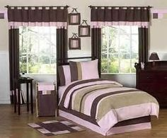 brown & pink bedroom