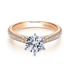 14k Rose Gold Round Straight Diamond ENGAGEMENT RING