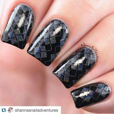 A little holo argyle to complete your look? Yes, please! Love this mani by the lovely  @shannasnailadventures ・・・ A closer look at my holo argyle. ❤️ Products I used for this look:  @paintedpolishbylexi Midnight Mischief @colorclubnaillacquer Beyond  @uberchicbeauty plate 6-03 @cosette.nail.shop clear stamper @shoploveangeline Topped With Love Shared from ubb, instagram.com