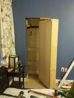 How to make a hidden closet behind a bookshelf.