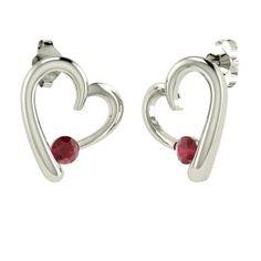 Round Ruby Earrings in 14k White Gold