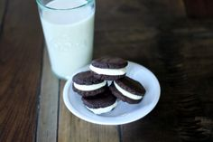 Oreo's THM - NOTE: Filling - homemade whip cream with xylitol and whipping cream in the blender & once cookies cool add whip cream freeze a bit then add the top cookie so it won't melt and mush up. Keep in freezer. You can use part almond & peanut flour that is the yummiest way. The called for filling in my opinion wasn't very yummy! (one other tip substitute a whole egg instead of the called for liquid!)