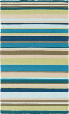 Sea Blues Striped Indoor-Outdoor Area Rug