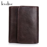LEVELIVE Brand Oil Wax Genuine Leather Men's Trifold Wallet Men Vintage Real Leather Hasp Wallets Male Purse Carteira Masculina