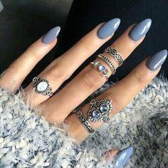 Blue grey acrylic nails…