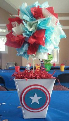 Captain america center piece for superhero birthday party! (Pinterest: rosaa10)  #captainamerica #superhero #birthdayparty #centerpiece #avengers