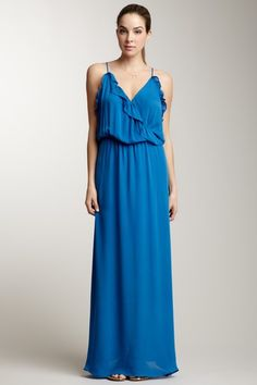Ruffle Silk Maxi Dress