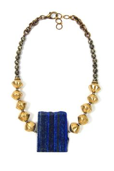 Brass African trading beads Pyrite Vintage brass chain Swarovski crystal spacers Lapis