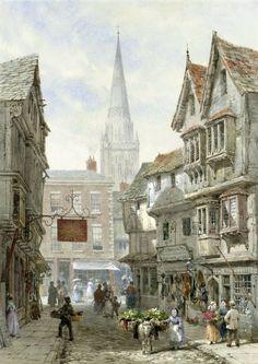 Louise Ingram Rayner (British painter) 1832 - 1924 Minster Street, Salisbury, s.d.