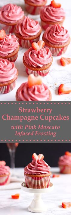 These Strawberry Champagne Cupcakes are soft and moist with a creamy and tangy Moscato infused strawberry cream cheese frosting. | wildwildwhisk.com