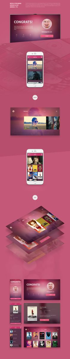 Media Streaming Service UI Kit (Mobile / TV) on Behance