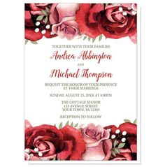Wedding Invitations - Rustic Red Pink Rose Green White | Rustic floral red rose Wedding invitations with red and pink roses at the top and bottom on a white background, and your details printed in red and green.