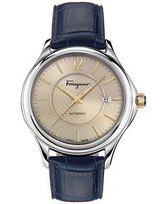 Ferragamo Women's Swiss Automatic Time Blue Leather Strap Watch 41mm FFT01 0016