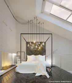 Hoher Dachschräge dieses Master-Schlafzimmer verfügt über Oberlichter und industrielle Lichter, die über die vier Poster Rollen hängen ins Bett.