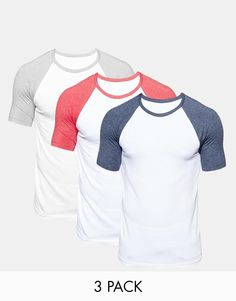 ASOS | ASOS Muscle T-Shirt With Contrast Raglan Sleeves 3 Pack SAVE 17% at ASOS
